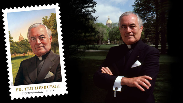 Stamp honoring Father Hesburgh  to be unveiled in campus ceremony Sept. 1