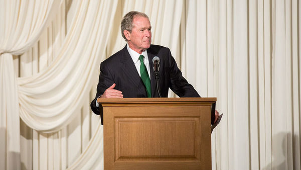 Former President George W. Bush helps  dedicate O'Neill Hall