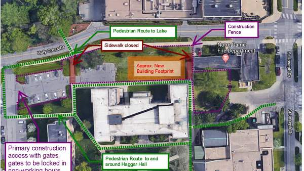 North-south sidewalks between Haggar Hall & Holy Cross Dr. to be closed