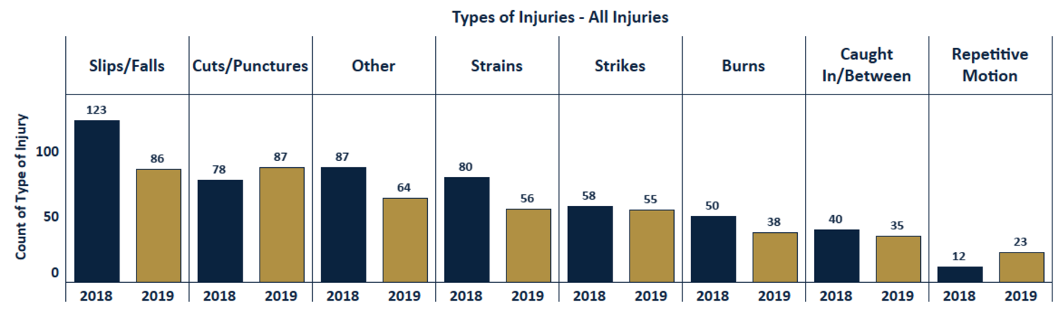 Chart compares injuries from 2018 to 2019, from slips and falls being the highest to cuts or punctures, burns, caught in between, and the lowest being repetitive motion. Most injuries are lower for 2019.